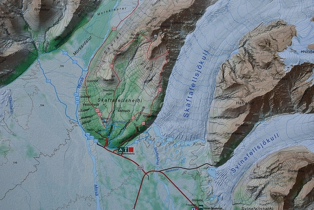 Islandia, Park Narodowy Skaftafell, mapa