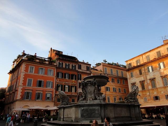 Fontanna na placu Santa Maria in Trastevere
