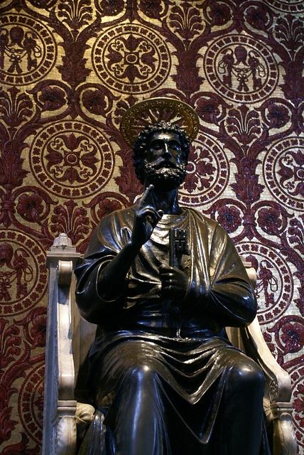 Rzym Bazylika Św. Piotra Posąg Św. Piotra