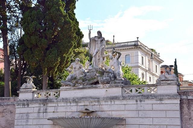 Fontanna Neptuna, Piazza del Popolo, Rzym, Włochy