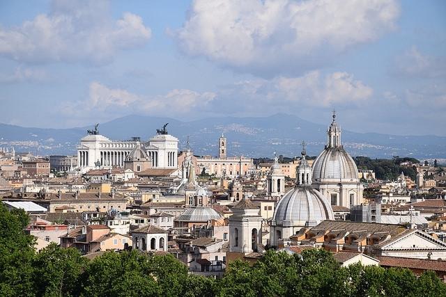 Panorama Rzymu z Castel Aant'Angelo, Rzym, Włochy