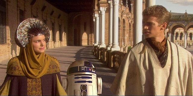 Anakin i Padme w Naboo - Plaza de España Sewilla Hiszpania