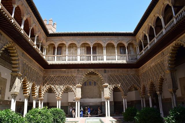 Patio de las Doncellas Real Alcázar Sewilla Hiszpania